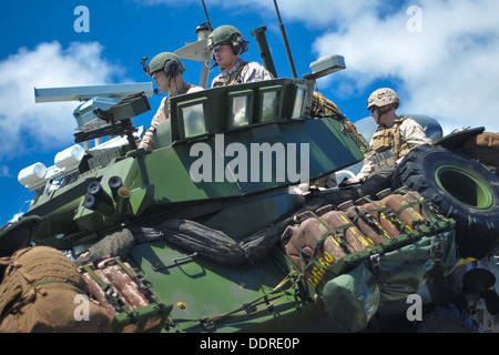 Marines from the 13th Marine Expeditionary Unit (13th MEU) mobilize a light armored vehicle (LAV) from a landing - Stock Photo