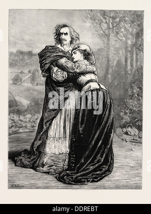 MR. IRVING AND MISS ISABEL BATEMAN IN RICHELIEU AT THE LYCEUM THEATRE, LONDON, UK, 1873 engraving - Stock Photo