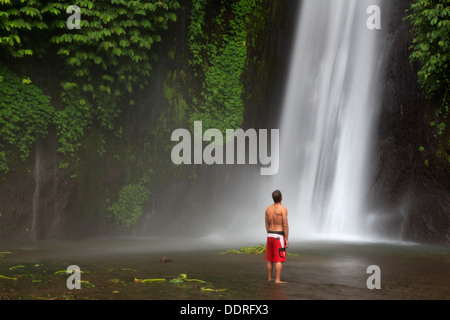 Indonesia, Bali, Central Mountains, Munduk, Waterfall - Stock Photo