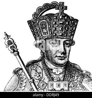 Leopold II, 5.5.1747 - 1.3.1792, Holy Roman Emperor 30.9.1790 - 1.3.1792, portrait, in coronation regalia, copper - Stock Photo