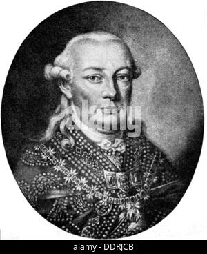 Leopold II, 5.5.1747 - 1.3.1792, Holy Roman Emperor 30.9.1790 - 1.3.1792, copper engraving by Haid after painting - Stock Photo