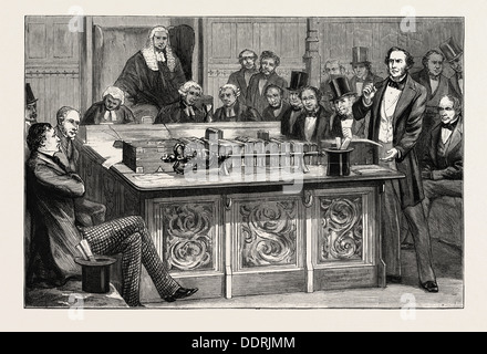 MR. GLADSTONE ATTACKING MR. DISRAELI'S FIRST BUDGET IN THE HOUSE OF COMMONS, 1852, UK - Stock Photo