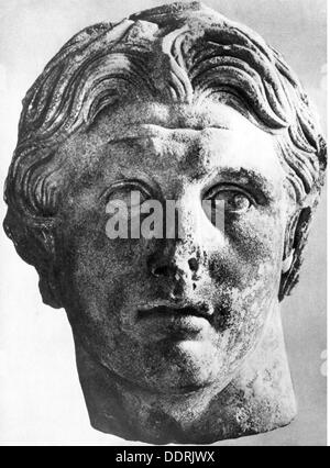 Alexander III 'the Great', 20.7.356 - 10.6.323 BC, King of Macedon 336 - 323 BC, portrait, bust by Lysippos of Pergamum, - Stock Photo