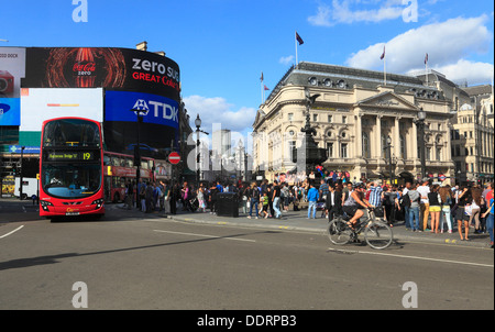 PIccadilly Circus with statue Eros London - Stock Photo