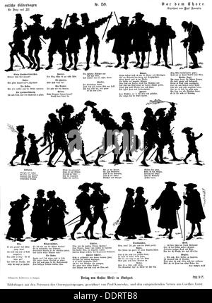 Goethe, Johann Wolfgang von, 28.8.1749 - 22.3.1832, German author / writer, works, 'Faust', sheet of pictures with - Stock Photo