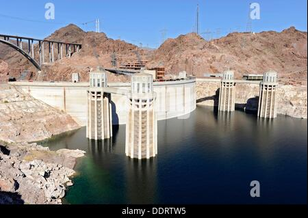 Intake Towers at Hoover Dam Arizona Nevada - Stock Photo