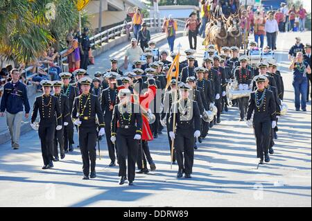 United States Naval Academy Drum and Bugle Corps Marches Gasparilla Pirate Festival Parade Tampa Florida - Stock Photo