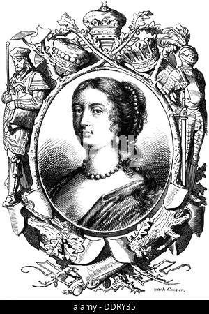 Russell, Rachel, circa 1636 - 29.9.1723, portrait, wood engraving, 19th century, Additional-Rights-Clearances-NA - Stock Photo