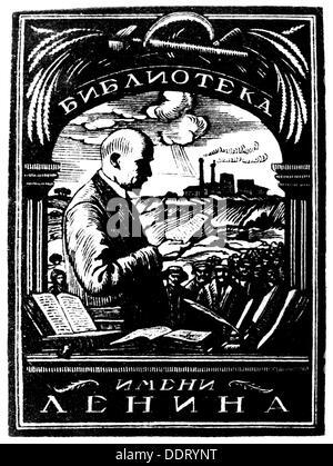 Lenin (Vladimir Ilyich Ulyanov), 22.4.1870 - 21.1.1924, Russian politician, bookplate, 20th century, - Stock Photo