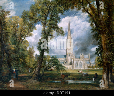 'View of Salisbury Cathedral from the Bishop's Grounds', Wiltshire, c1822. Artist: John Constable - Stock Photo