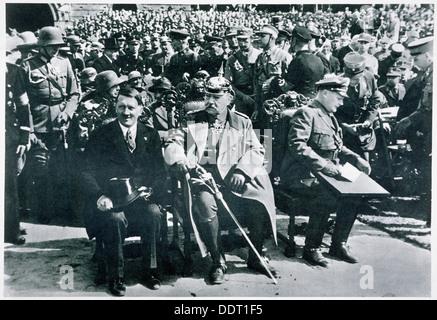 Adolf Hitler, President von Hindenburg and Hermann Goering, Tannenberg, Germany, 1933. Artist: Unknown - Stock Photo