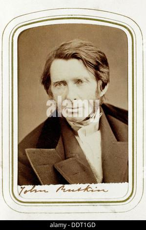 John Ruskin, English artist, poet and critic, 1865. Artist: Elliott & Fry - Stock Photo