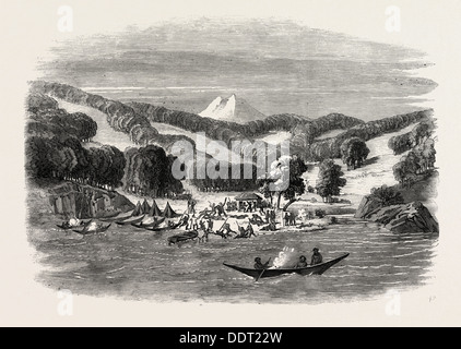 MASSACRE OF A MISSION PARTY OF THE ALAN GARDINER BY THE NATIVES AT WOOLYA, TIERRA DEL FUEGO, 1860 engraving - Stock Photo