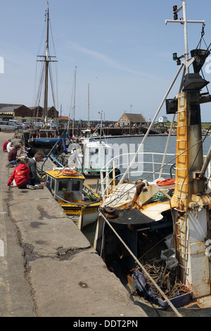 fishing boats at the port at wells next the sea on the norfolk coast - Stock Photo