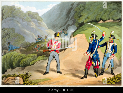 'A British soldier Taking Two French Officers at the Battle of the Pyrenees', 1813 (1816). Artist: Matthew Dubourg - Stock Photo