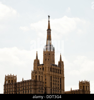 stalinist high-rise - kudrinskaya square building in Moscow - Stock Photo