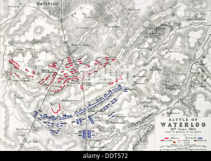 Map of the Battle of Waterloo, 18th June 1815 (19th century). Artist: Alexander Keith Johnston - Stock Photo