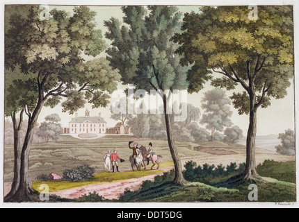George Washington's House at Mount Vernon, Virginia, USA, c1820-1839. Artist: Paolo Fumagalli - Stock Photo