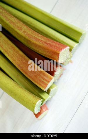 Freshly cut Rhubarb stems - Stock Photo