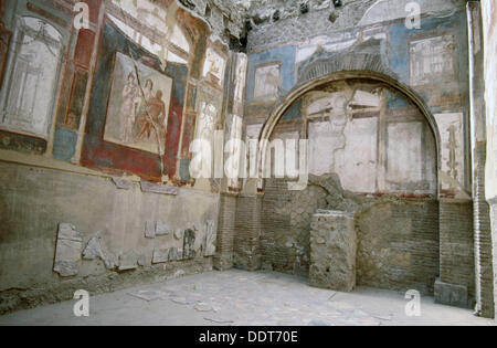 Fresco on the left in the College of the Augustans´ depicting the myth of Hercules, ruins of the old Roman city - Stock Photo