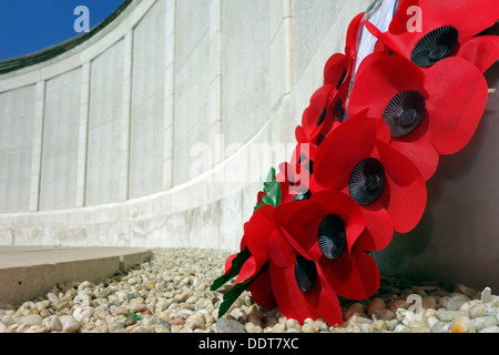 Poppies at WW1 Tyne Cot Memorial to the Missing, Commonwealth War Graves Commission cemetery for World War One British - Stock Photo