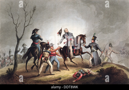 Death of Sir John Moore, La Coruna, Spain, 17th January 1809 (1815). Artist: Thomas Sutherland - Stock Photo