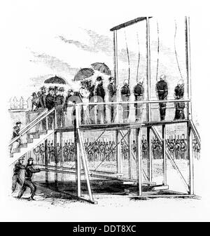 Hanging of the Lincoln assassination conspirators, Washington DC, USA, 7th July, 1865. Artist: Unknown - Stock Photo