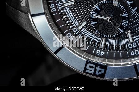 Macro shot of a chronometer. Selective focus, shallow depth of field. - Stock Photo