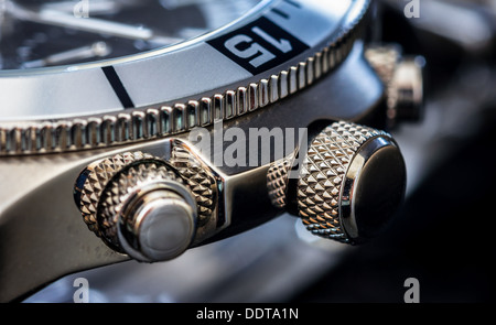 Detail of a luxury watch. Selective focus, shallow depth of field. - Stock Photo