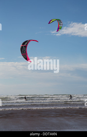 Kite Surfers on Northam Burrows Beachn North Devon, UK - Stock Photo