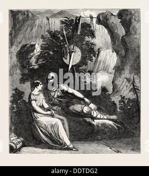 SCENE FROM THE NEW PLAY OF INGOMAR, AT DRURY LANE THEATRE, LONDON, UK, 1851 engraving - Stock Photo