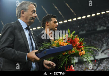 Munich, Germany. 06th Sep, 2013. Germany's former team captain Michael Ballack (R) and Wolfgang Niersbach, president - Stock Photo