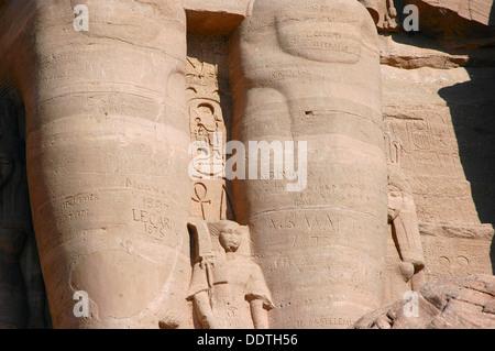 Statue of Nefertari, Temple of Rameses II, Abu Simbel, Egypt. Artist: Werner Forman - Stock Photo