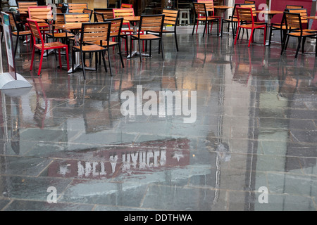 The exterior of Pret A Manger a cafe and servery in Liverpool One, on a rainy afternoon in September, Merseyside, - Stock Photo