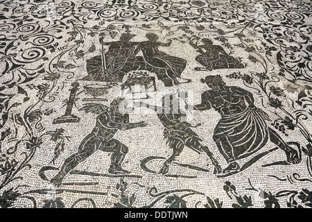 Mosaic on the floor of the House of Bacchus and Arianna, Ostia Antica, Italy. Artist: Samuel Magal - Stock Photo