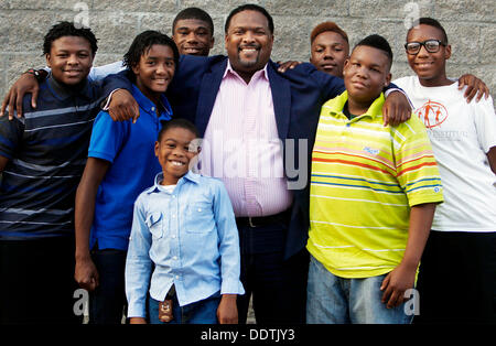 Sept. 5, 2013 - Memphis, Tenn, U.S. - September 5, 2013 - Rev. Ricky Floyd (middle) poses with several of young - Stock Photo