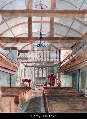 Interior view of St Pancras Old Church, London, 1853. Artist: HC - Stock Photo