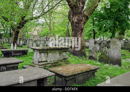 Headstones in Bunhill Fields Burial Ground, London. - Stock Photo
