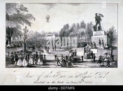 A fair held in Hyde Park during the coronation of Queen Victoria in 1838. Artist: Anon - Stock Photo