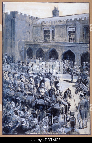 The proclamation of Queen Victoria at St James's Palace, Westminster, London, 1837. Artist: William Heysham Overend - Stock Photo