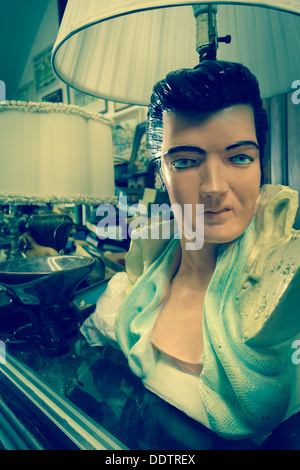 Elvis Lamp In Antique Shop, Fifth Avenue, Pittsburgh   Stock Photo