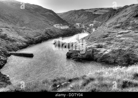 Boscastle harbour North Cornwall between Bude and Tintagel England UK in black and white - Stock Photo