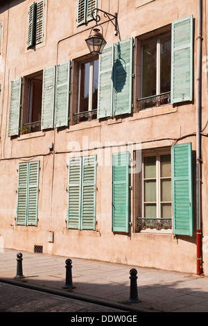 An old building facade in the city of Nancy, France. - Stock Photo