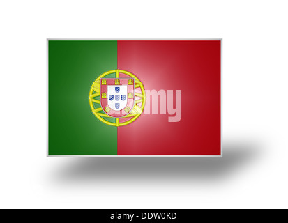 Flag of Portugal with the lesser coat of arms (stylized I). - Stock Photo