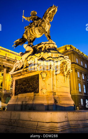 Equestrian statue of Eugene of Savoy at Buda Castle, Budapest. - Stock Photo
