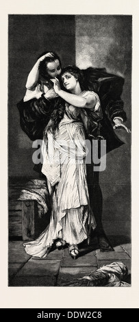 FAUST AND MARGUERITE, ENGRAVING 1882 - Stock Photo