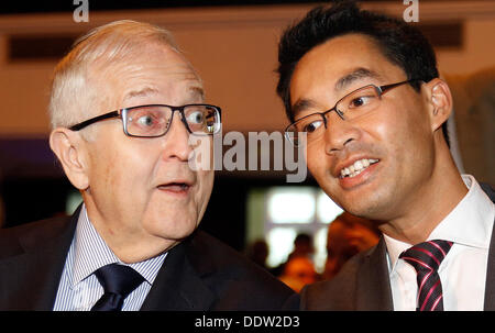 Hamburg, Germany. 06th Sep, 2013. Rainer Bruederle (L), top candidate of the FDP for the federal elections 2013, - Stock Photo