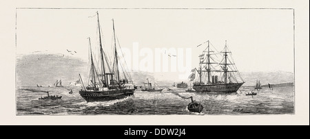 HM.S.  Enchantress  H.M.S.  Fire Queen Admiralty Yacht H.M.S Orontes answering Signals from the Flag Ship, ENGRAVING - Stock Photo
