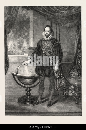 PORTRAIT OF SIR FRANCIS DRAKE PAINTED BY S. LANE. PRESENTED BY SIR T.T. ELLIOTT FULLER DRAKE TO THE UNITED SERVICE - Stock Photo