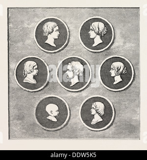 PORTRAITS OF THE ROYAL CHILDREN, MODELLED BY COMMAND OF HER MAJESTY, BY L.C. WYON, ROYAL MINT: 1. VICTORIA ADELAIDE - Stock Photo